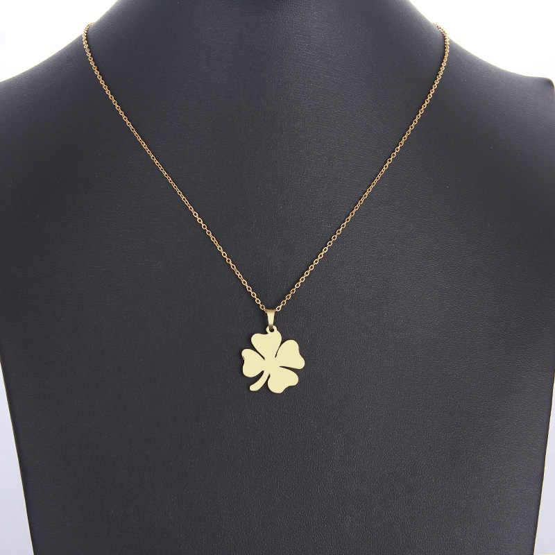 DOTIFI สร้อยคอสแตนเลสผู้หญิงผู้ชายคนรัก Clover Gold และ Silver สีจี้สร้อยคอหมั้นเครื่องประดับ