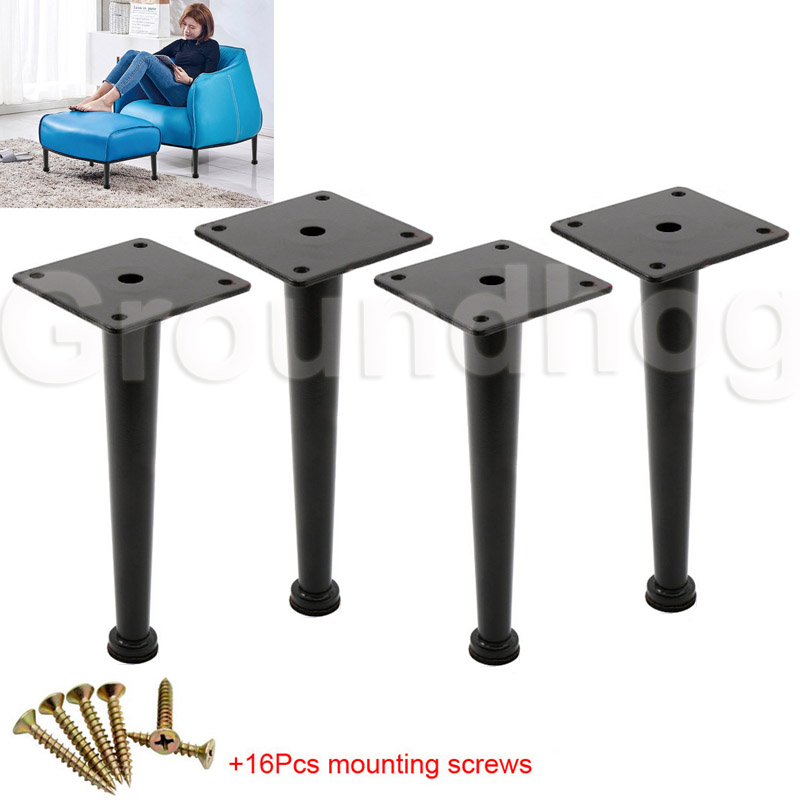 4pcs Furniture Feet 20cm Metal Tapered  Table Sofa Cabinet Legs Cupboard Chairs Feet With Mounting Screws & Non-Slip Pads