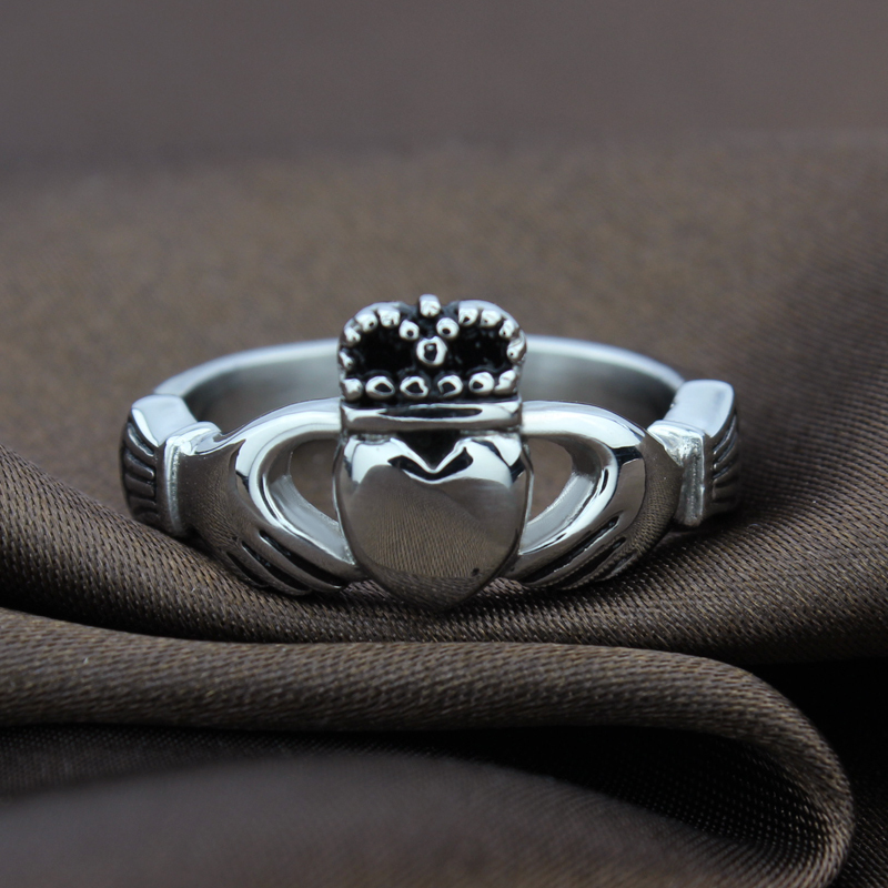 newbuy vintage claddagh ring heart crown wedding rings for women stainless steel statement love ring fine wedding jewelry in rings from jewelry - German Wedding Rings