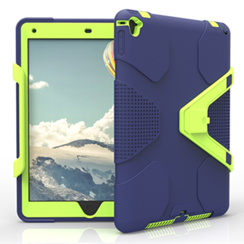 For ipad air2 case Kids Safe Armor Shockproof Heavy Duty Silicone Hard Cover for apple ipad air 2 tablet Detachable stand design tablet case for ipad air 2 a1567 extreme heavy duty shockproof rubber cover with stand hard cover case for ipad pro 9 7 inch