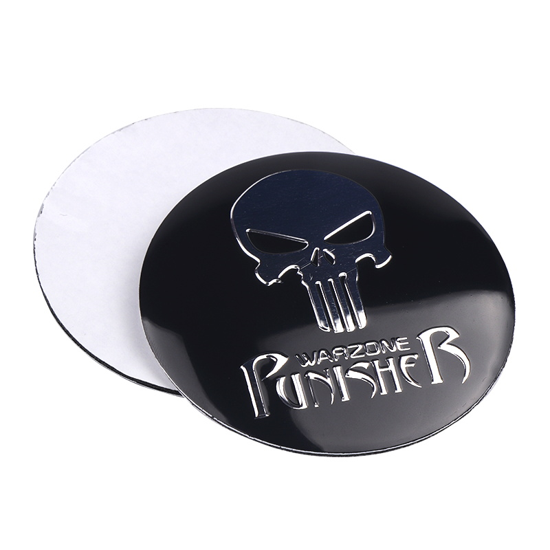 Image 4 - New THE Punisher Skull Metal Skeleton Car Steering tire Wheel Center sticker Label Skull Emblem Badge Stickers Car Styling 4Pcs-in Car Stickers from Automobiles & Motorcycles