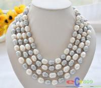 80 8 9mm white gray rice freshwater cultured pearl necklace