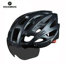 ROCKBROS Bicycle EPS Helmet with Lenses Integrally-molded 28 Air Vents Cycling MTB Road Bike Equipment Helmet Casco Clismo