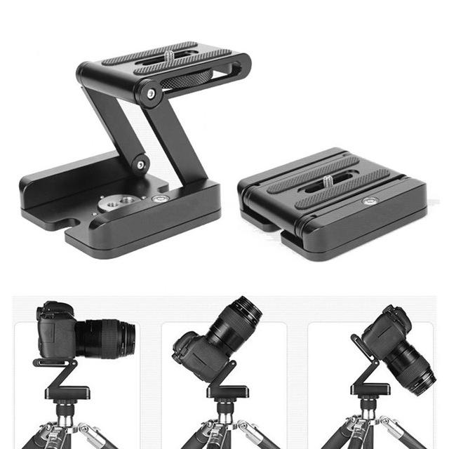 Z folding desktop cabeça do tripé suporte para câmera câmera de slides cremalheira pacote-shot luz portátil tripé prato de liberação rápida 1/4 parafuso