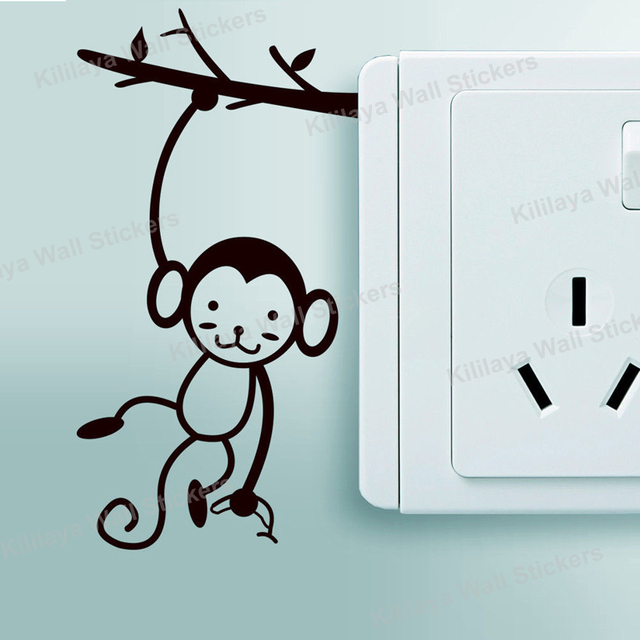 animal cartoon switch sticker small black monkey art eco friendly