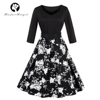 Minifaceminigril Black Autumn Elegant Dresses 2017 New V Neck Long Sleeve Floral Print With Belt Party