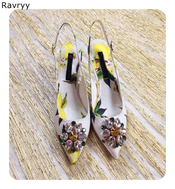 Yellow Crystal woman's high heels leaf flower print female dress shoes rhinestone sexy pumps pointed toe stiletto single shoes leaf print high waisted maxi dress