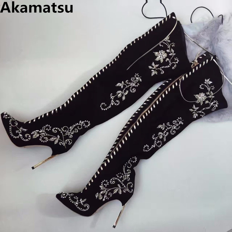 Botas femininas winter shoes women thigh knee high over the knee boots metal high heel black long ladies girls shoes embroidery 2017 new winter arrival long boots for women over the knee thigh boots high heel flock shoes club boots botas mujer femininas