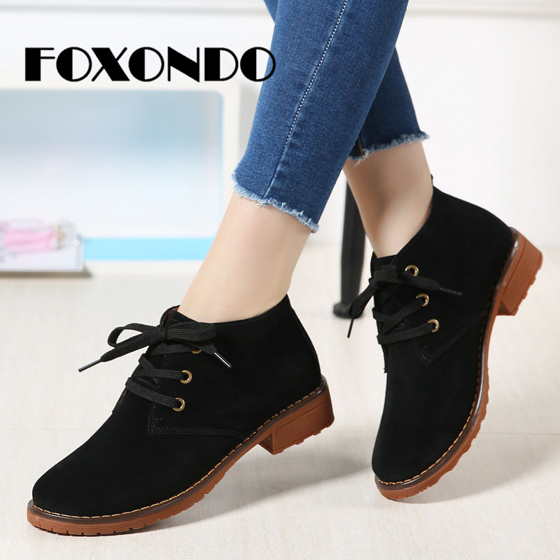 FOXONDO 2019 Spring Women Flats Shoes Women Sneakers   Leather     Suede   Lace Up Boat Shoes Round Toe Flats Moccasins Oxford For Women