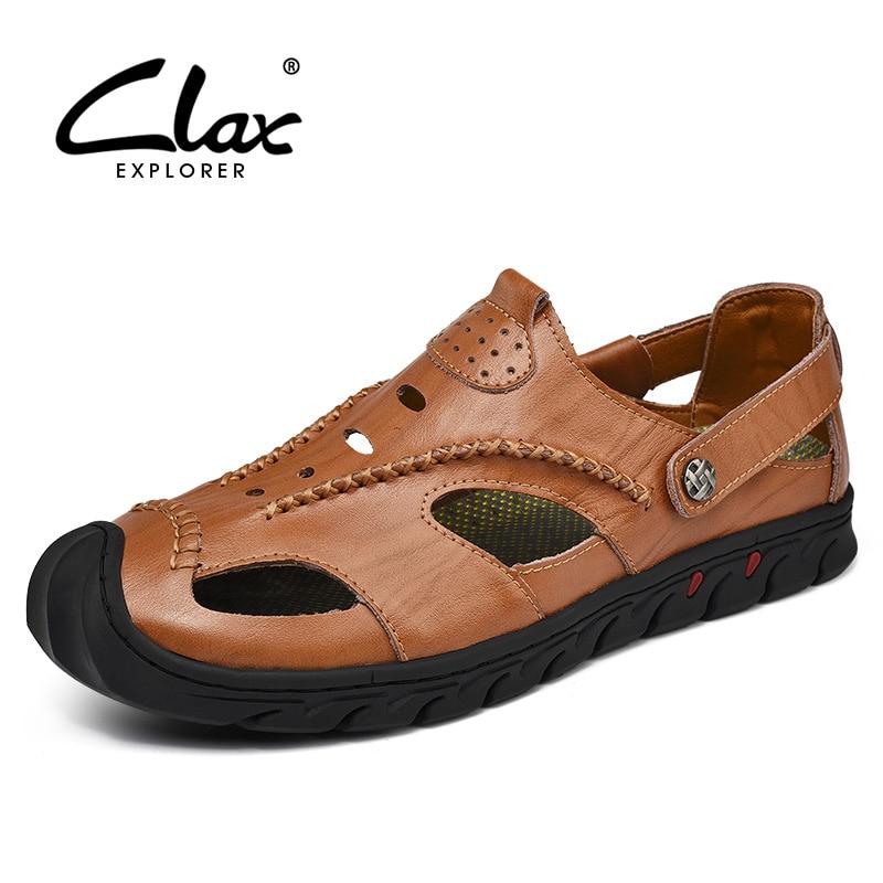 CLAX Mænds Læder Sandaler Puste 2018 Sommersko Mænd Casual Sandal - Mænds sko
