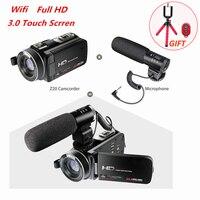 Full HD 1080 P 30FPS Wi Fi видеокамеры Портативный цифрового видео Камера с внешнего микрофона 3.0 дюйма ЖК дисплей сенсорный экран видео Регистраторы