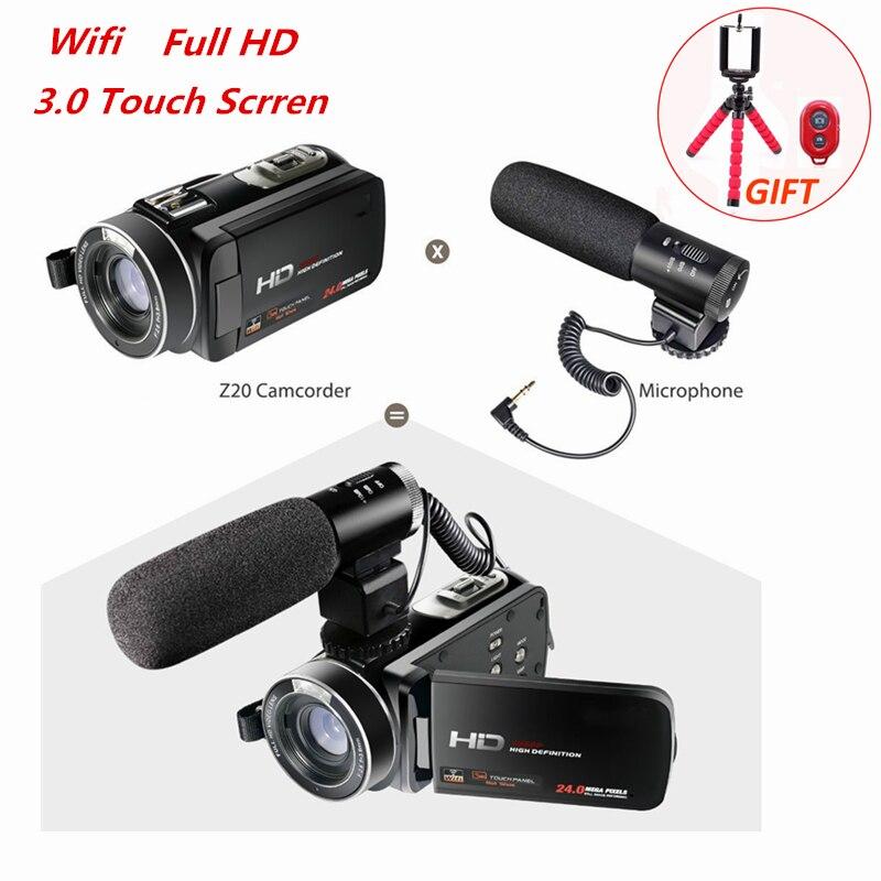 Full HD 1080 P 30FPS Wifi caméscope Portable caméra vidéo numérique avec Microphone externe 3.0 pouces LCD écran tactile enregistreur vidéo