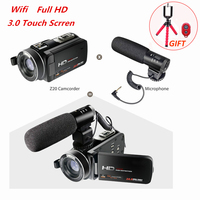 Full HD 1080P 30FPS Wifi Camcorder Portable Digital Video Camera with External Microphone 3.0inch LCD Touchscreen Video Recorder