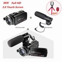 Full HD 1080p 30FPS видеокамера Wi Fi портативный цифровая видеокамера с внешнего микрофона 3,0 дюйма ЖК дисплей сенсорный экран видео Регистраторы