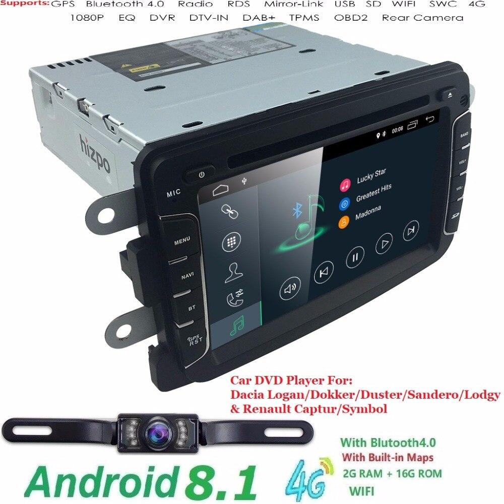 Hizpo Android8.1 QuadCore 2 GRAM 1DIN CarDVD Pour RENAULT DUSTER LOGAN LADA XRAY SYMBOLE DACIA Kaptur DOKKER DVD De Voiture GPS multimédia
