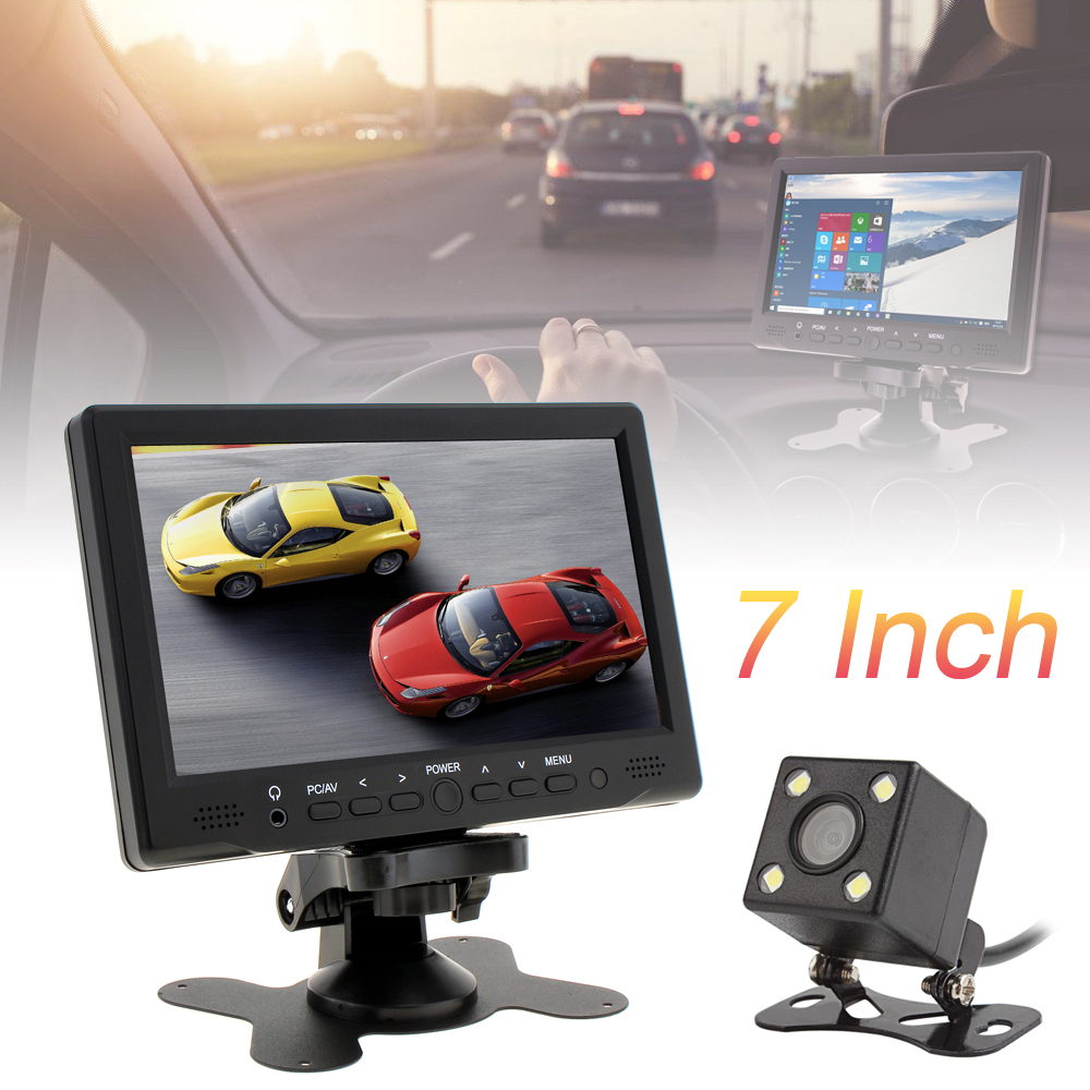 7 Zoll 800x480 TFT Lcd Auto-Monitor Unterstützung AV/VGA/HDMI + 420 TV Linien Nachtsicht Rückansicht kamera
