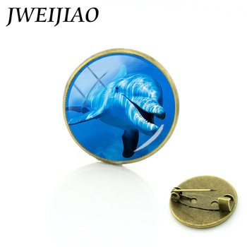 JWEIJIAO Documentary The Blue Planet Brooches Largest Ocean Living Thing Blue Whale Dolphin Jellyfish Squid Brooch Pins OC7 image