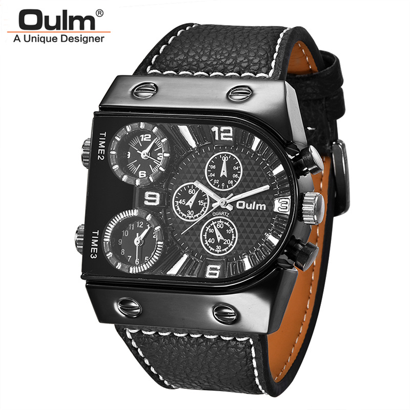 Oulm Brand 6 Colors Classic Men's Watches Unique Three Time Zone Male Watch Casual PU Leather Military Men Quartz Wristwatch 1 pair auto brand emblem logo led lamp laser shadow car door welcome step projector shadow ghost light for audi vw chevys honda page 4