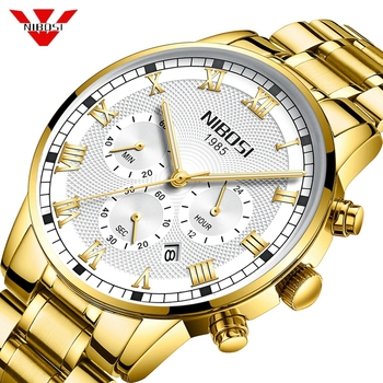 NIBOSI Relogio Masculino Men Watch Chronograph Stainless Steel Watches Men Waterproof Quartz Watch Luxury Casual Business Clock
