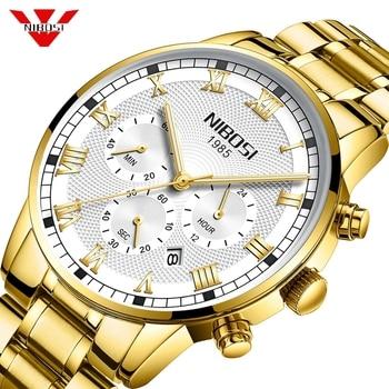 NIBOSI Relogio Masculino Men Watch Chronograph Stainless Steel Watches Men Waterproof Quartz Watch Luxury Casual Business Clock