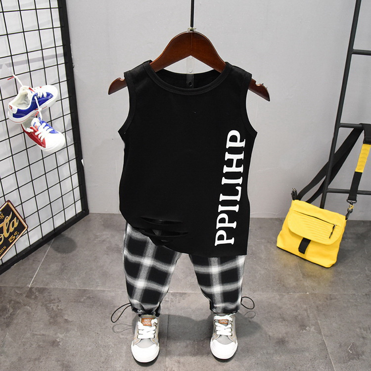 Summer Cute Letter 2PCS Kids Baby Boys Vest Top Pants Set Clothes Children Fashion Clothing Sets 2-6years 2