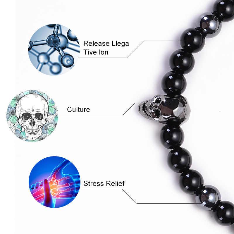 HIYONG 2 stks/set Charm Mannen Skelet Schedel Armband Zwart Agaat Hematiet Natuursteen Kralen Armbanden Voor Mannen Sieraden Pulseras