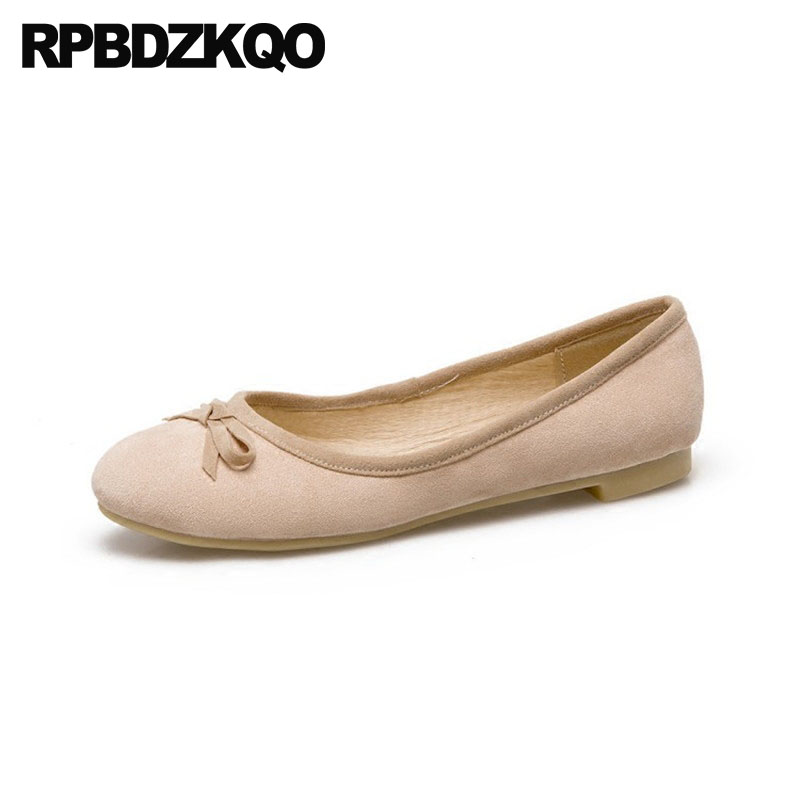 f2c1b0ec2e75 Kawaii Plus Size Chinese Bow 10 Round Toe 9 Wedding 33 Japanese School 11  Women Flats Shoes With Little Cute Bowtie Large Suede