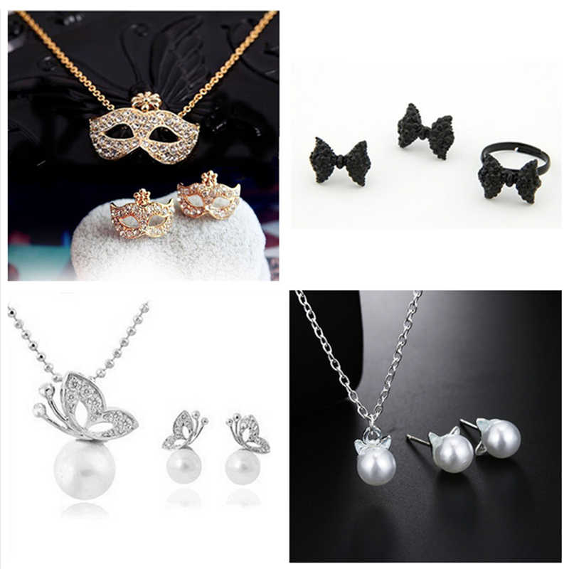 H25 Hot Sale Vintage Heart Jewelry Set For Women Cat Pearl Pendant Necklace&Earrings Fashion Statememt Wedding Jewelry Wholesale