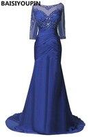 Vestidos formales Más El Tamaño de Las Mujeres Vestidos de Noche de La Sirena 2016 Elegant Royal Blue Gasa Largo Vestidos Párr Festa