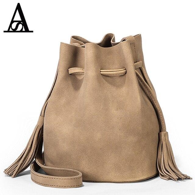 48d6b614f AITESEN Camurça Balde Sacos Amelie Lado Esfrega Franjas bolsa de Ombro  Único Designer de bolsa feminina