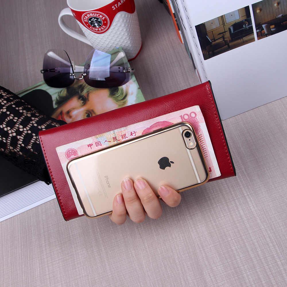 NIGEDU Marke Echtem Leder Frauen Brieftasche Lange dünne Geldbörse Rindsleder mehrere Karten Halter Kupplung tasche Mode Standard Brieftasche