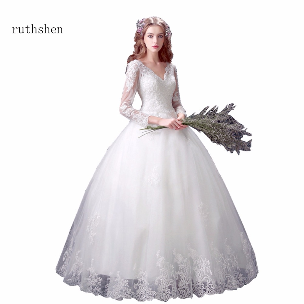 Cheap Wedding Gowns With Sleeves: Ruthshen Wedding Dresses 2018 Cheap Lace Ball Gown Sexy V