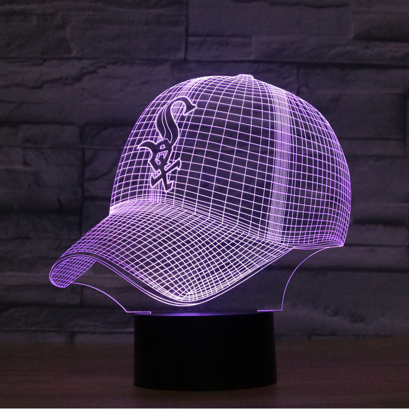 Fashion LED 3D Illusion Night Light Chicago White Sox Baseball Team Cap 7 Color American Baseball Hat Decor Bulb USB Visual Lamp unique digital pattern embellished baseball hat