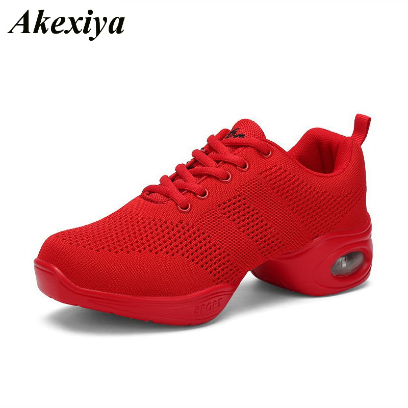 Dance Shoes For Women Modern Dance Shoes Breath Sports Mesh ventilation Practice Dance Sneakers Lady Jazz Dancing Shoes Zapatos(China)