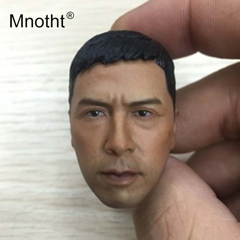 Mnotht Chinese Kongfu 1:6 Scale Male Soldier Head Sculpt Ip Man Donnie Yen Resin Head Carving for 12inch Action Toys Collection image