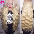 #613 virgin brazilian body wave human hair blonde full lace wig with baby hair 130 density blonde lace front wig for white women