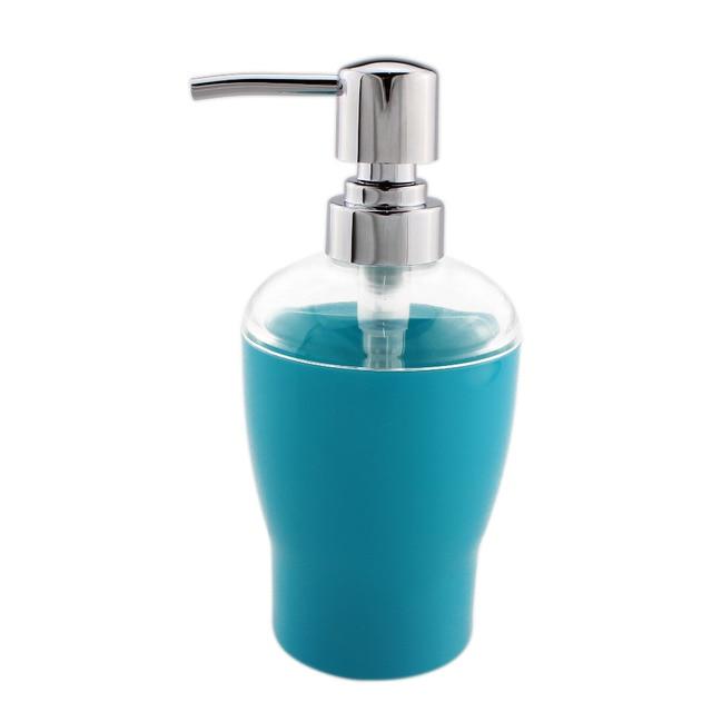 Acrylic Lotion Liquid Soap Dispenser Pump Bottle Kitchen Bathroom Countertops Accessory 10 Oz Light Blue