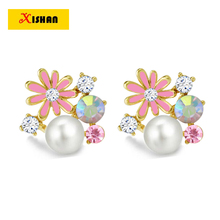 Hot Fashion pearl ear cuffs no pierced ear clip charms colorful crystal earring on earrings 2016 new U-type ear clips