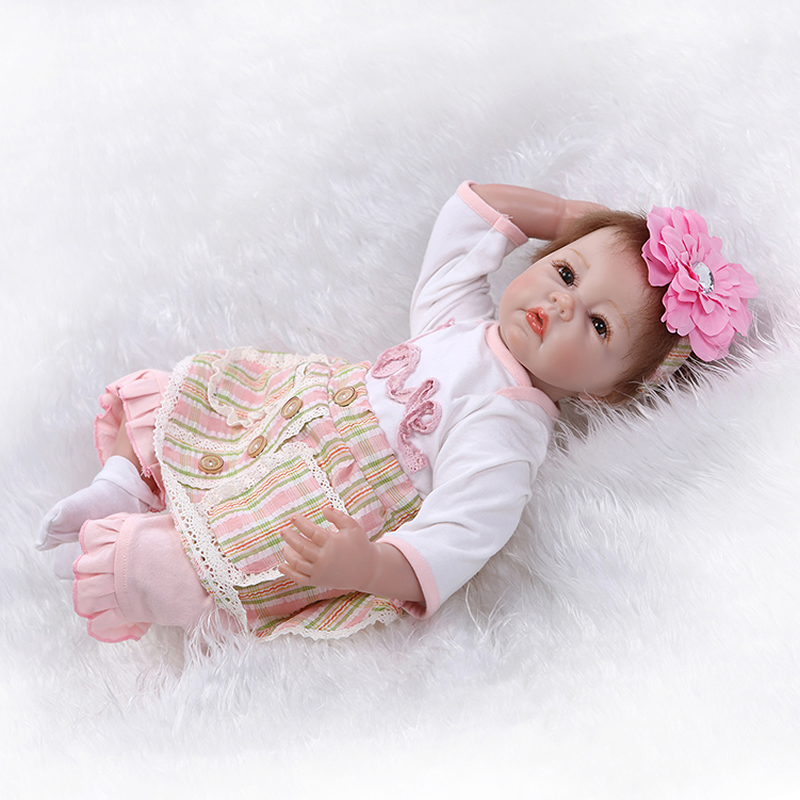 Silicone Reborn Baby Doll 22 inch Real Lifelike Newborn Dolls Girl Children Birthday Xmas Gift npk collection 22 inch lifelike reborn dolls toys silicone newborn baby girl fashion doll smiling princess xmas gift