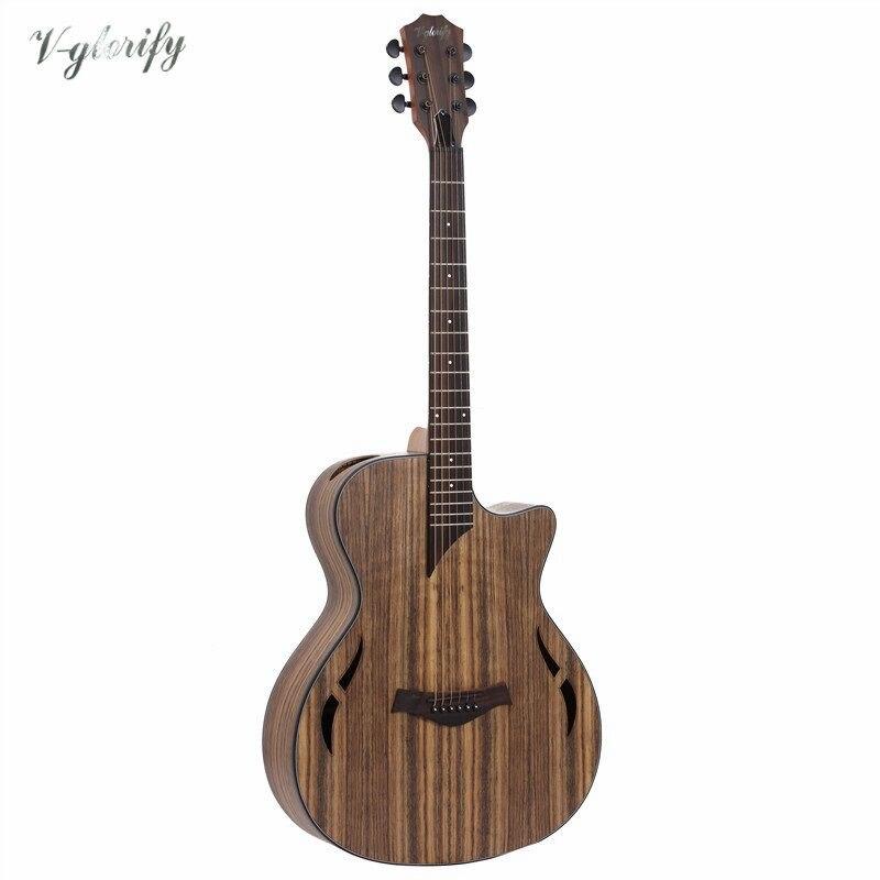 Plein hickory bois électrique guitare acoustique avec eq avec tuner