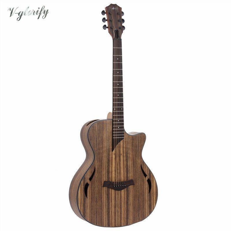 Volle hickory holz elektrische akustische gitarre mit eq mit tuner
