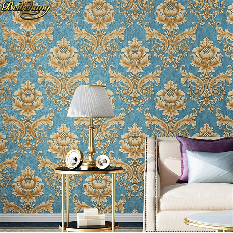 beibehang American retro relief Damascus papel de parede 3d Wallpaper Roll Living room Wall Paper living room Home Decoration beibehang european pastoral relief wallpapers papel de parede 3d wall paper roll living room wallpaper for walls vinyl contact