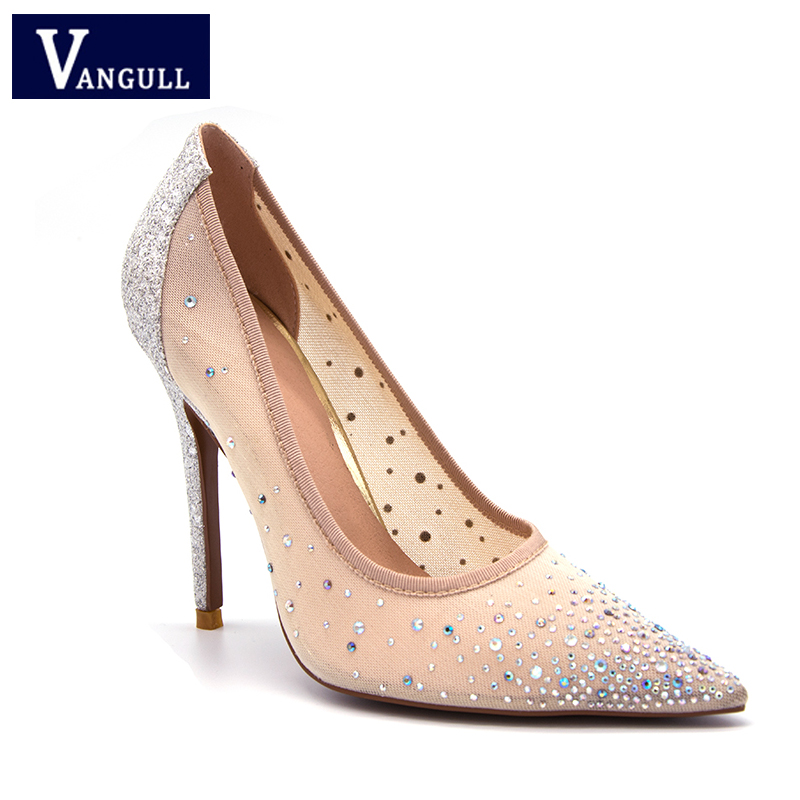 New Style Fashion Elegant Party Womens Shoes 2018 Spring & Winter Air Mesh Sliver Crystal Super High ladies basic PumpsNew Style Fashion Elegant Party Womens Shoes 2018 Spring & Winter Air Mesh Sliver Crystal Super High ladies basic Pumps