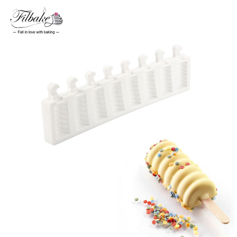 FILBAKE Home Kitchen 8 Cavity Striped Ice Cream Makers Mold DIY Molds Ice Cube Moulds Dessert Molds Tray Popsicle Molds
