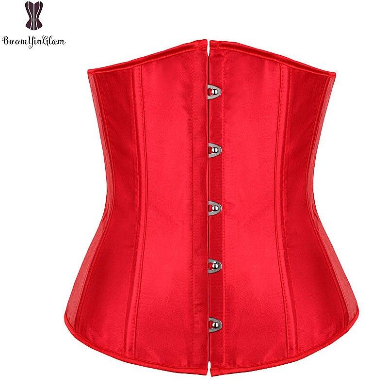 Red Black White Satin   Corset   Sexy Gothic Lingerie   Bustiers   Women Boned Waist Trainer   Corsets   Shaper Plus Size Espartilho Korsett