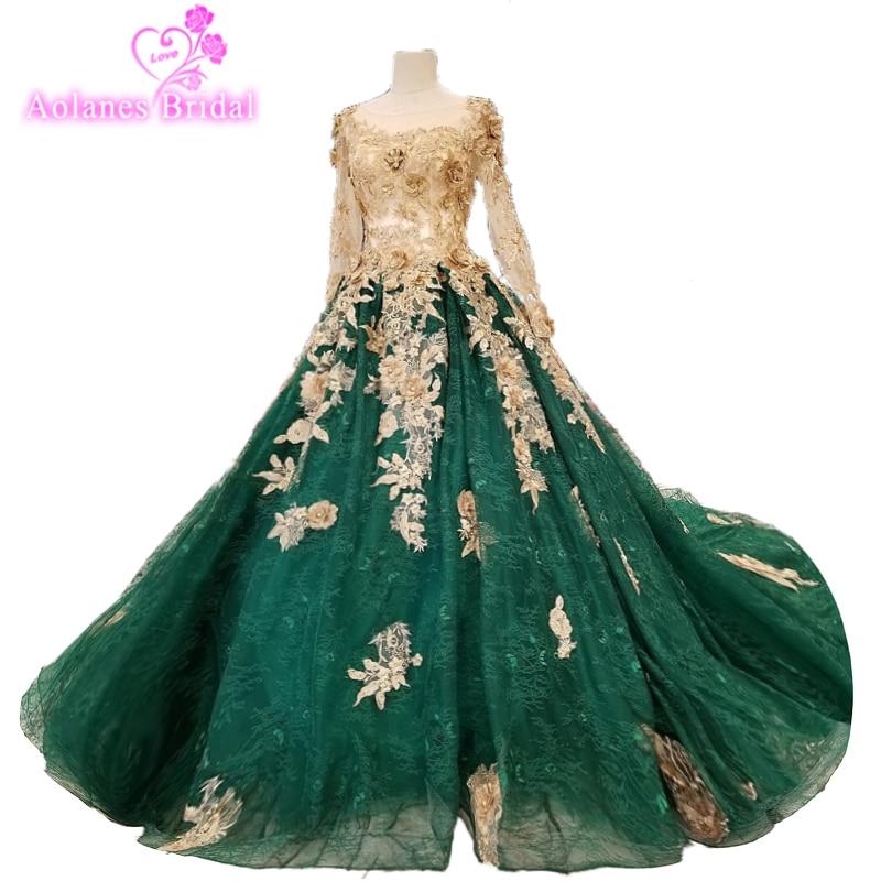 2018 Round Neck Emerald Green Prom Dresses Lace Evening Gowns Vestidos De Festa Formatura Ballkleider Longo Dress Lace Gowns