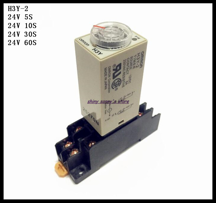 2 Sets/Lot H3Y-2 DC24V 5S/10S/30S/60S Delay Timer Time Relay 0-5/10/30/60 Seconds 24VDC & PYF08A Socket Base Brand New zys48 s dh48s s ac 220v repeat cycle dpdt time delay relay timer counter with socket base 220vac
