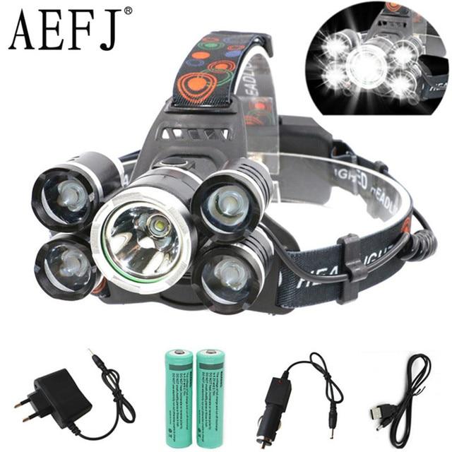 18000LM 3 LED 5 LED T6 + 2R5 Scheinwerfer ZOOM Scheinwerfer Kopf Lampe beleuchtung Licht Taschenlampe Taschenlampen Laterne Angeln
