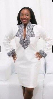 03936eec5 Barato blanco de verano para mujer africana camisa túnica vestido Dashiki  imprimir dividir cuello recto