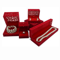 5pcs Velvet Jewelry Organizer Display for Ring Earring Pendant Necklace Gift Box Red Bracelet Packaging Holder Storage Boxes